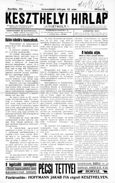 Keszthelyi Hírlap 1913.10.26.