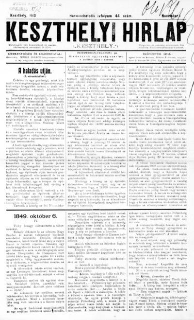 Keszthelyi Hírlap 1913.11.01.