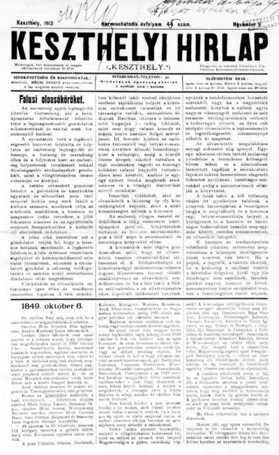 Keszthelyi Hírlap 1913.11.09.