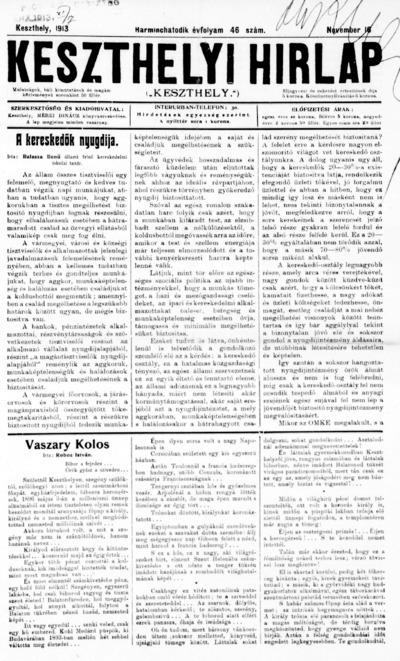 Keszthelyi Hírlap 1913.11.16.