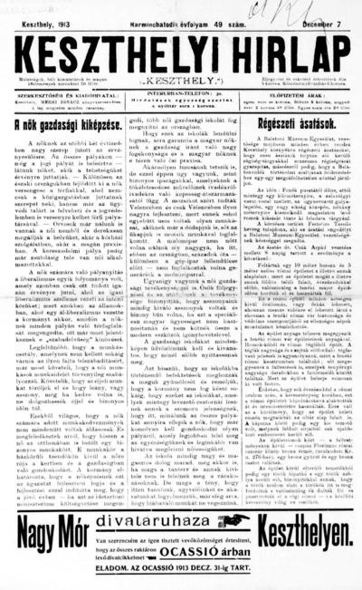 Keszthelyi Hírlap 1913.12.07.