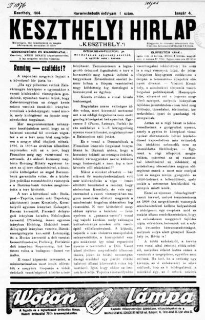Keszthelyi Hírlap 1914.01.04.