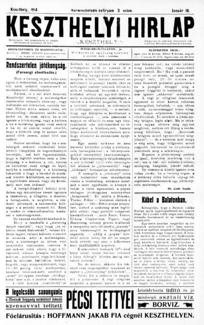 Keszthelyi Hírlap 1914.01.18.