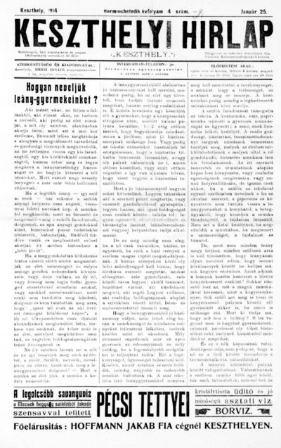 Keszthelyi Hírlap 1914.01.25.