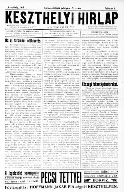 Keszthelyi Hírlap 1914.02.01.