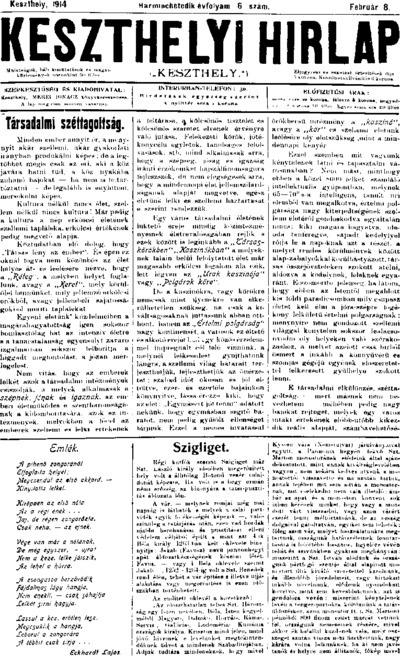 Keszthelyi Hírlap 1914.02.08.