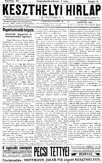 Keszthelyi Hírlap 1914.02.15.
