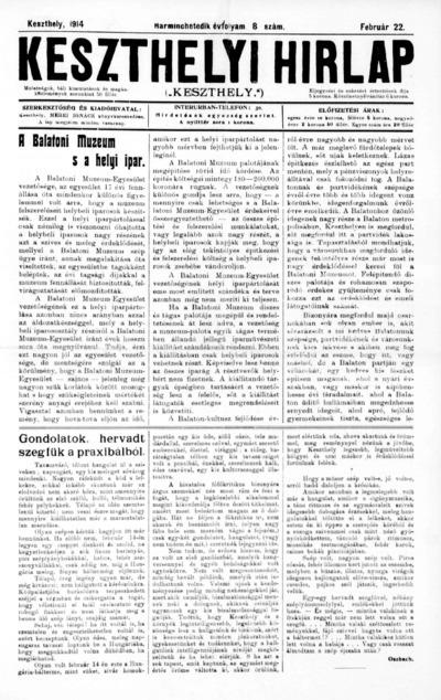 Keszthelyi Hírlap 1914.02.22.