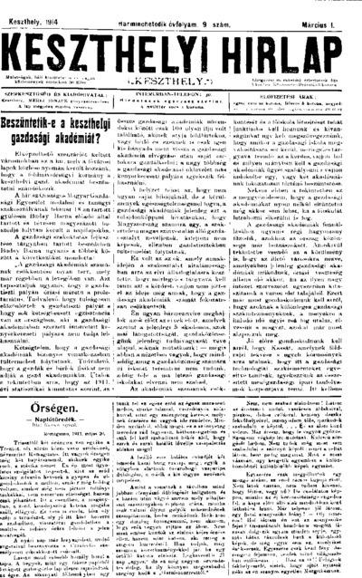 Keszthelyi Hírlap 1914.03.01.