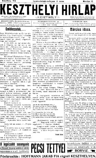 Keszthelyi Hírlap 1914.03.15.