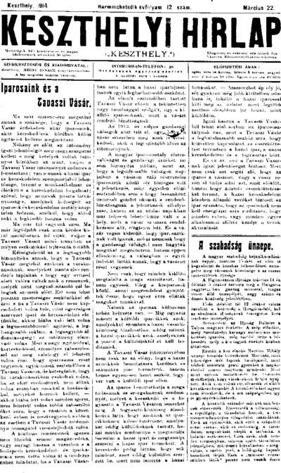 Keszthelyi Hírlap 1914.03.22.