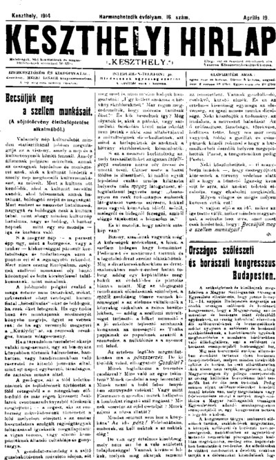 Keszthelyi Hírlap 1914.04.19.