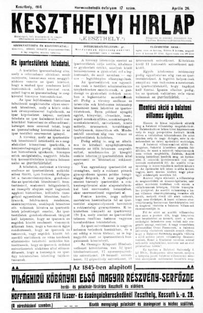 Keszthelyi Hírlap 1914.04.26.