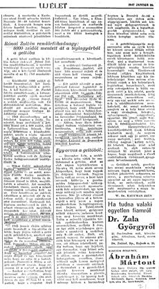 Rónai Zoltán rendőrfőhadnagy: 8000 zsidót mentett át a téglagyárból a gettóba - újságcikk 1947.