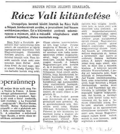Rácz Vali kitüntetése - újságcikk