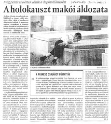A holokauszt makói áldozatai - újságcikk