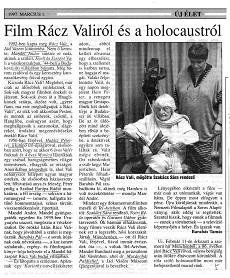 Film Rácz Valiról és a holocaustról