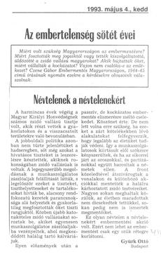 Névtelenek a névtelenekért - újságcikk