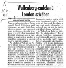 Wallenberg-emlékmű London szívében - újságcikk