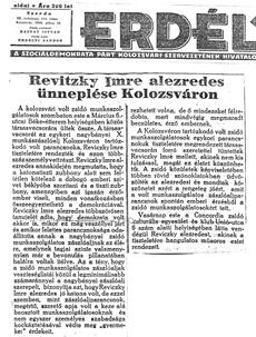 Revitzky Imre alezredes ünneplése Kolozsváron - újságcikk 1946.