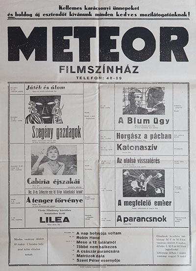 Meteor Filmszínház műsora