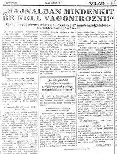 Hajnalban mindenkit be kell vagonírozni! - újságcikk 1945.