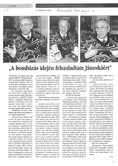 A bombázás idején felszaladtam Jánoskáért - újságcikk