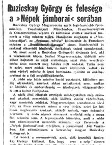Ruzicskay György és felesége a Népek Jámborai sorában - újságcikk