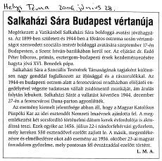 Salkaházi Sára Budapest vértanúja - újságcikk