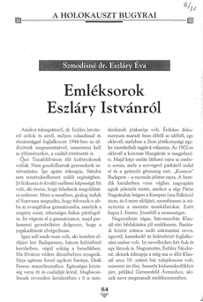 Emléksorok Eszláry Istvánról - újságcikk