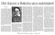 Hét fejezet a Bokréta utca mártírjáról - újságcikk