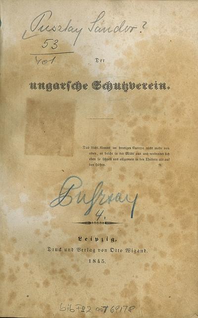 Der ungarsche [!] Schutzverein
