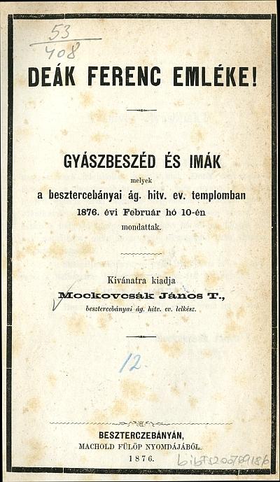 Deák Ferenc emléke!