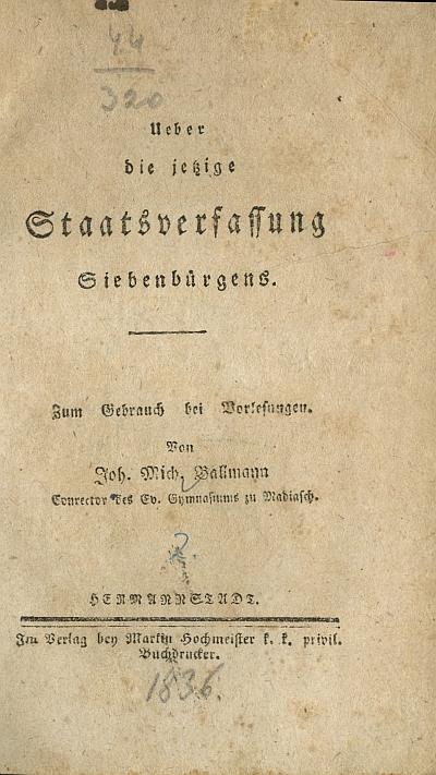 Ueber die jetzige Staatsverfassung Siebenbürgens