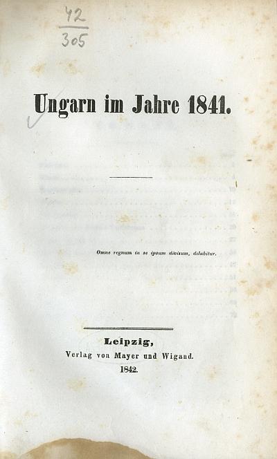 Ungarn im Jahre 1841