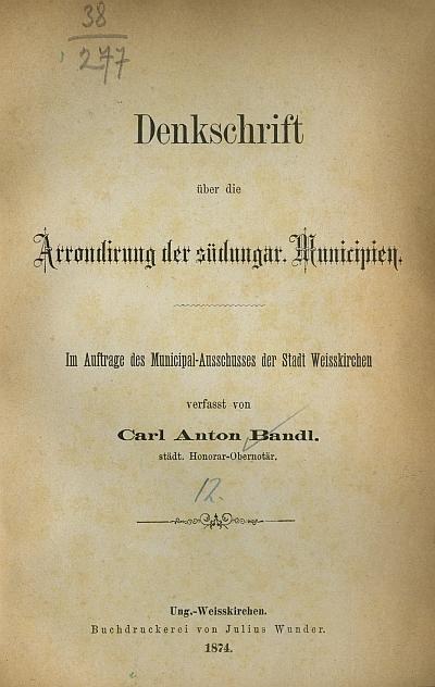 Denkschrift über die Arrondirung der Südungar
