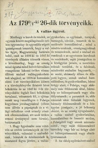 Az 1790/1-ki 26-dik törvénycikk