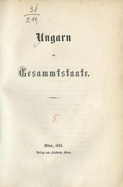 Ungarn im Gesammtstaate