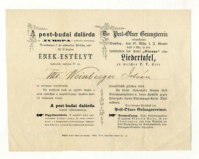 A Pest-Budai Dalárda meghívója énekestélyre, 1859