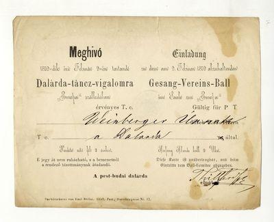 A Pest-Budai Dalárda meghívója dalárda-táncvigalomra, 1859