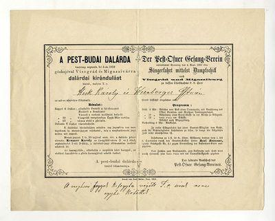 A Pest-Budai Dalárda meghívója kirándulásra, 1859