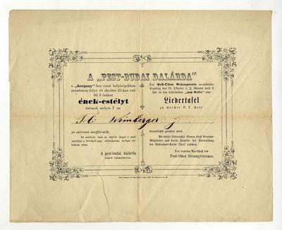 A Pest-Budai Dalárda meghívója énekestélyre, 1858