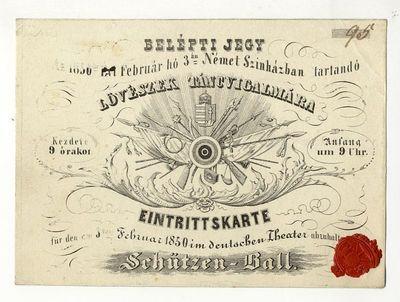 Belépti jegy lövészek táncvigalmára, 1850