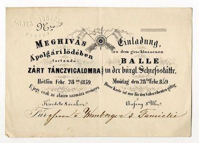 Meghívó táncvigalomra a polgári lövöldében, 1859