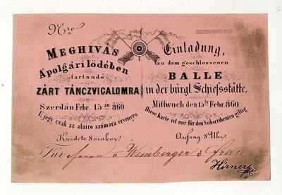 Meghívó táncvigalomra a polgári lövöldében, 1860