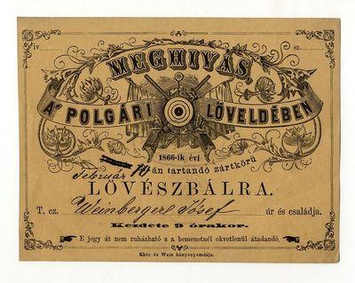 Meghívó lövészbálra, 1865