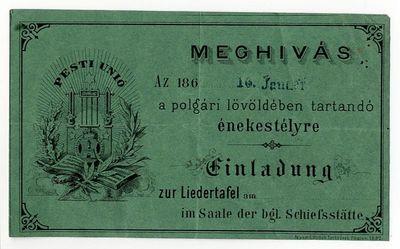 Meghívó énekestélyre a polgári lövöldébe, 1860-as évek