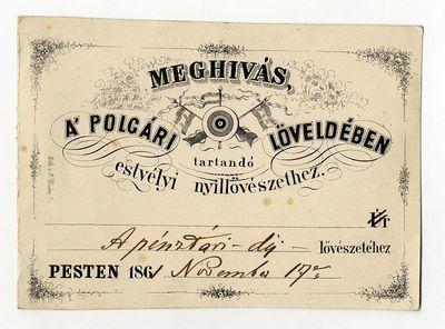 Meghívó esti nyíllövészetre a polgári lövöldébe, 1861