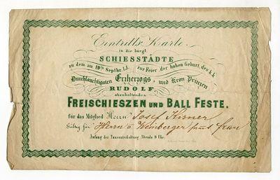 Meghívó szabad céllövészetre és táncvigalomra a polgári lövöldébe, 1858