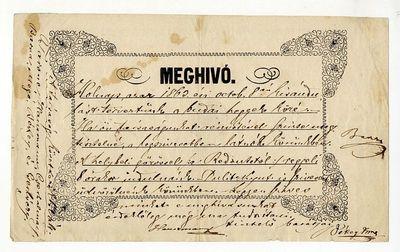 Meghívó budai kirándulásra, 1863